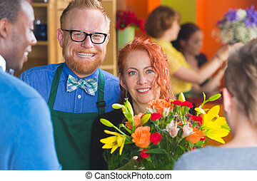 Customers and Florists in Shop