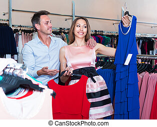 Customers are choosing dress for her