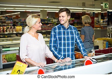 Customers at frozen food section