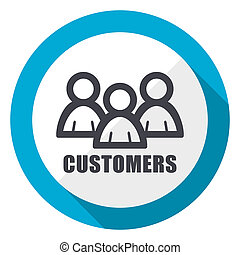 Customers blue flat design web icon