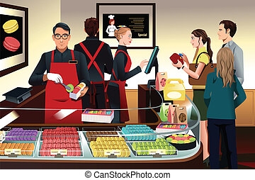 A vector illustration of customers buying macaroons at French bakery shop