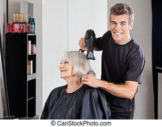 customer's, peluquero, secador de pelo, macho, ajuste