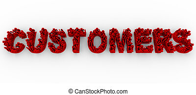 Many illustrated red people stand in formation on letters to make the word Customers