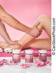 customer's, schoenheit, bein, therapeut, spa, massieren