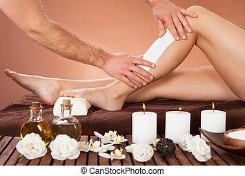 customer's, schoenheit, bein waxing, therapeut, spa