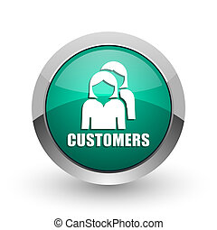 Customers silver metallic chrome web design green round internet icon with shadow on white background.