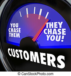 Customers word on a gauge and needle rising to They Chase You to illustrate strong or high demand for your products, services, knowledge or expertise