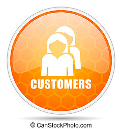 Customers web icon. Round orange glossy internet button for webdesign.