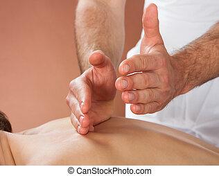 customer's, zurück, therapeut, weibliche , spa, massieren