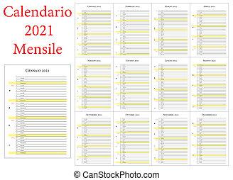 Customizable 12 month calendar 2021 year