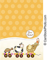 customizable baby card, vector illustration