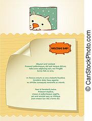 customizable, bebé, tarjeta, nuevo, gato