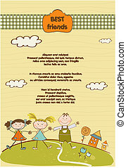 customizable best friend background with two girls and boy