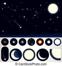 customizable, ciel, nuit