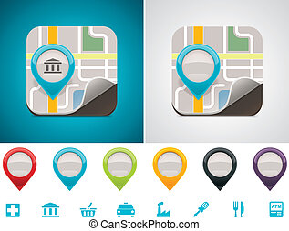Customizable map location icon - Detailed square icon ...