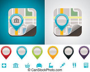 customizable, mapa, rozmieszczenie, ikona