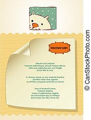 customizable new baby card with cat