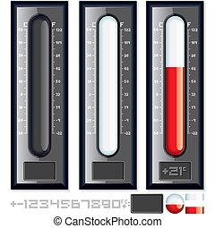 customizable, vecteur, kit., illustration, thermomètre