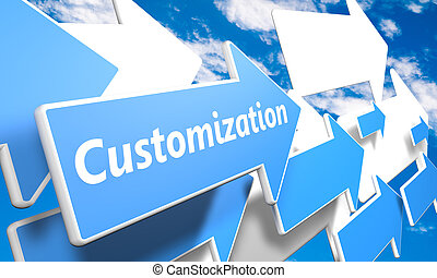 Customization 3d render concept with blue and white arrows flying in a blue sky with clouds