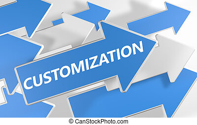 Customization 3d render concept with blue and white arrows flying over a white background.