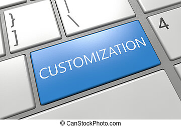 Customization - keyboard 3d render illustration with word on blue key