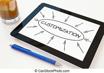 Customization - text concept on a mobile tablet computer on a desk - 3d render illustration.