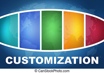 Customization text illustration concept on blue background with colorful world map