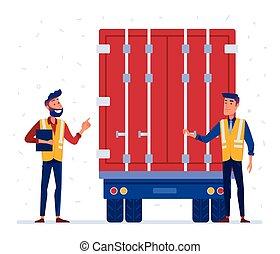 Customs and border truck inspection - Customs truck loading...