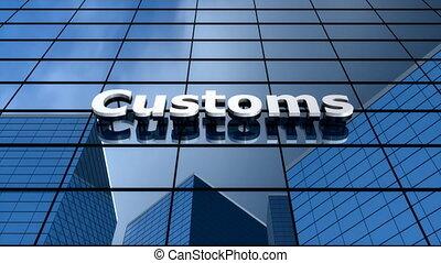 """Customs building, blue sky clouds time-lapse."""