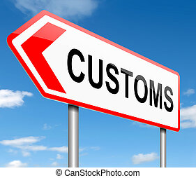 Illustration depicting a road sign with a customs concept.