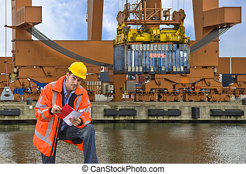 Customs Control at work in a commercial harbor - A customs...