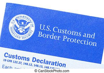 Customs declaration form - Macro closeup of U.S. Customs and...