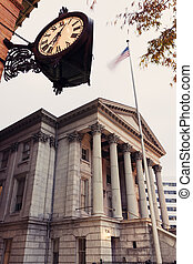 Customs House and historic clock in Norfolk, Virginia