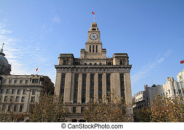 The bund, Shanghai - Customs house in The bund, Shanghai,...