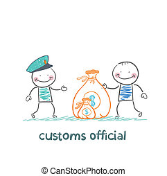 customs officer takes money from the man