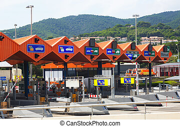Customs toll road in Catalonia. Spain