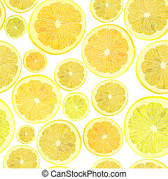 Vector seamless background of cut across a lot of citrus fruits on white.