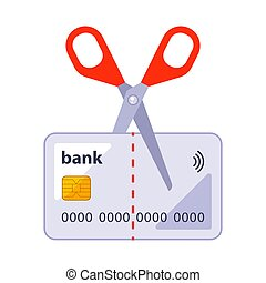 cut an old bank card with scissors. flat vector illustration...
