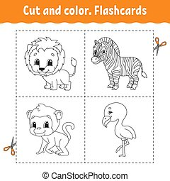 Cut and color. Flashcard Set. flamingo, lion, zebra, monkey. Coloring book for kids. Cartoon character. Cute animal.
