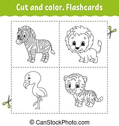 Cut and color. Flashcard Set. flamingo, tiger, lion, zebra. Coloring book for kids. Cartoon character. Cute animal.