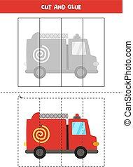 Cut and glue game for kids. Cartoon fire truck.