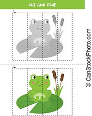Cut and glue game for kids. Cute cartoon green frog.