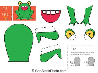 Cut and glue paper toy. Vector illustration, worksheet with cartoon cute frog character