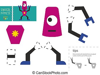 Cut and glue paper vector toy. Cute robot character as a cardboard cutout model. Educational puzzle worksheet