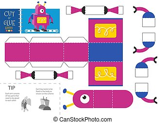 Cut and glue robot toy vector illustration. Paper craft and diy educational worksheet with funny robotic character for preschool kids. Cutout activity for children