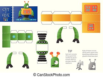 Cut and glue robot toy vector illustration. Paper craft and diy riddle with funny robotic character for preschool kids. Simple cutout activity for children