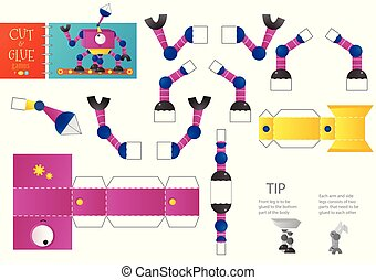Cut and glue robot toy vector illustration, worksheet. Paper craft and diy model with multi leg cartoon robotic character for preschool kids. Cutout activity for children