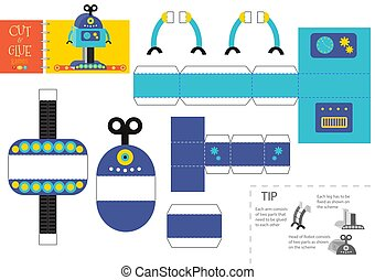 Cut and glue robot toy vector illustration, worksheet. Paper craft and diy model with one leg cartoon robotic character for preschool kids. Cutout activity for children