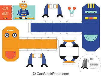 Cut and glue robot toy vector illustration, worksheet. Paper craft and diy riddle with cartoon robotic character for preschool kids. Cutout activity for children