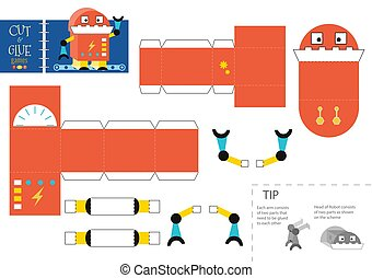 Cut and glue robot toy vector illustration, worksheet. Paper craft and diy riddle with funny cartoon robotic character for preschool kids. Cutout activity for children